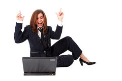 Funny businesswoman with PC royalty free stock images