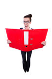 Funny businesswoman with red folder Royalty Free Stock Photos