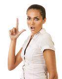 Funny businesswoman showing gun gesture Royalty Free Stock Image