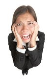 Funny businesswoman with stress isolated stock images