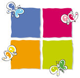 Funny butterflies. Four color frames with colorful butterflies Stock Photos