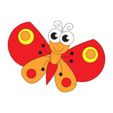 Funny butterfly cartoon. Page to be colored. Royalty Free Stock Images