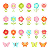 Funny butterfly on flowers in garden. Illustrations of natural flower in flat style isolate on white background. Collection of flower and butterfly, summer Royalty Free Stock Photos