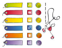 Funny buttons, and symbols for sewing web. Color icons and etiquettes for a cute web of clothes Stock Image