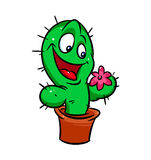 Funny cactus  flower cartoon Royalty Free Stock Photo