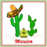 Funny cactuses in sombrero with tequila. Colorful stylish elements. stock illustration