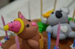 Funny cake. Sweet and Personalized Cake Stock Images