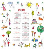 Funny calendar 2019 with kids drawings for children. Vector illustration. Funny calendar 2019 with kids drawings for children. Vector graphic illustration vector illustration