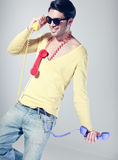 Funny call center guy with hipster glasses Stock Image