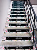 Funny Calorie Decals on Stairs stock images
