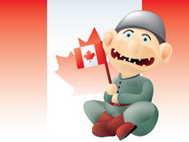Funny Canadian soldier. Layered and grouped illustration for easy editing Stock Images