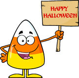Funny Candy Corn Holding A Wooden Board With Text Royalty Free Stock Photo