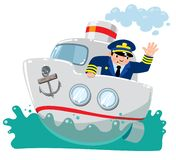 Funny captain on boat in the sea. Funny captain on the boat or ship in the sea. Children vector illustration vector illustration