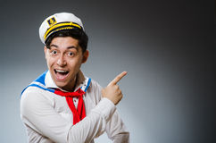Funny captain sailor Stock Images