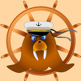 Funny captain walrus is ready to travel. Simple cartoon captain walrus blows bubbles through the tube. Royalty Free Stock Images