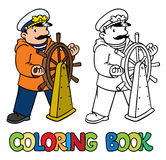 Funny captain or yachtsman. Coloring book Stock Images