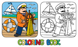 Funny captain or yachtsman. Coloring book Stock Image