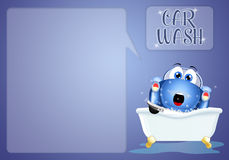 Funny car in bathroom for carwash Royalty Free Stock Image