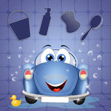 Funny car at car wash Royalty Free Stock Photos