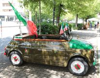 Funny car created for military national meeting in Asti, Italy. Funny car created for military national meeting in Asti, Italy, Europe Stock Photo