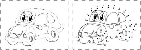 Funny car drawing with dots and digits Royalty Free Stock Photography