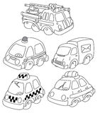 Funny car outlined. Illustration of a funny car outlined Royalty Free Stock Photo