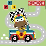 Funny car racing champion on the circuit. Hippo the cute racer with finish flag, he won the competition, vector cartoon illustration, no mesh, vector on EPS 10 Royalty Free Stock Image