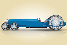 Funny car. Funny retro future blue car. Poster component for retro party Royalty Free Stock Images