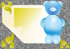 Funny card. Blue bear, plastic toy, glass toy Royalty Free Stock Image