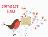 Funny card with bird and mail on flower Royalty Free Stock Photography