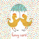 Funny card with birds Stock Images