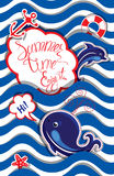 Funny Card with blue whale and dolphin on striped background. Ro Royalty Free Stock Images