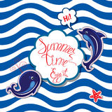 Funny Card with blue whale and dolphin on striped background. Stock Image