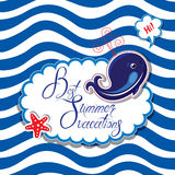 Funny Card with blue whale on striped background. Oval frame wit Stock Image