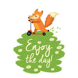 Funny card with cute fox in cartoon style. Vector Stock Images