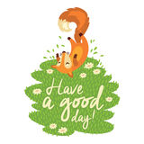 Funny card with cute fox in cartoon style Stock Images
