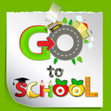 Funny card:. We go to school. Childrens cheerful greeting stock illustration