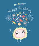 Funny card with a monster birthday Royalty Free Stock Photography