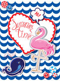 Funny Card with pink flamingo Stock Images