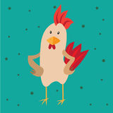 Funny card with a rooster in cartoon style. Green background Stock Photos