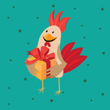 Funny card with a rooster in cartoon style. Green background Stock Photography
