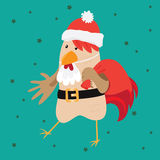 Funny card with a rooster in cartoon style. Green background Royalty Free Stock Photo