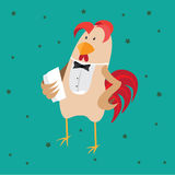 Funny card with a rooster in cartoon style. Green background Stock Photo