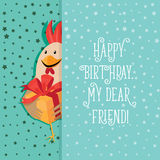 Funny card with a rooster in cartoon style. Green background Royalty Free Stock Image