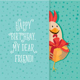 Funny card with a rooster in cartoon style. Green background Stock Image