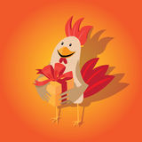 Funny card with a rooster in cartoon style. Red background Stock Photography