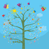 Funny card with tree and butterflies Royalty Free Stock Images