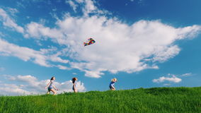 Funny and carefree children run through the green meadow, play with a kite. Happy childhood stock video footage