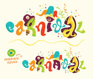 Funny carnival lettering with portuguese version Royalty Free Stock Images