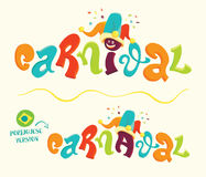Funny carnival lettering with portuguese version Stock Images